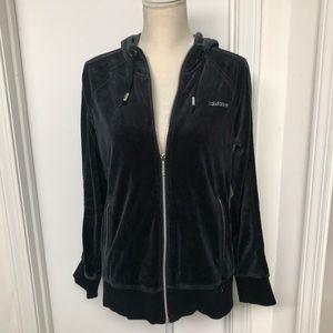 Adidas Black velour full zip jacket women's sz L